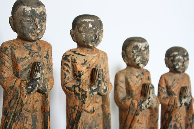 Set of antique Buddhist monk wood carving statues ABA58M
