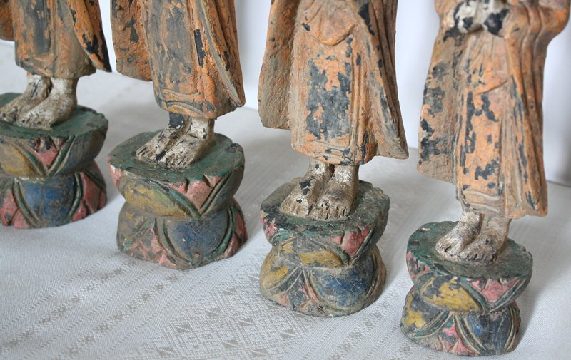 Set of antique Buddhist monk wood carving statues ABA58M2