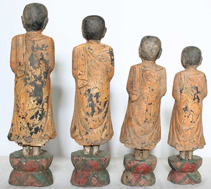 Set of antique Buddhist monk wood carving statues ABA58M3