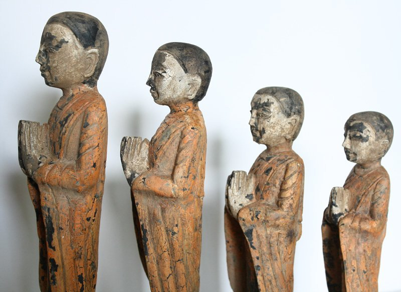 Set of antique Buddhist monk wood carving statues ABA58M4