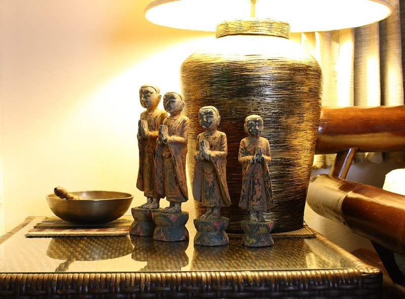 Set of antique Buddhist monk wood carving statues ABA58M7