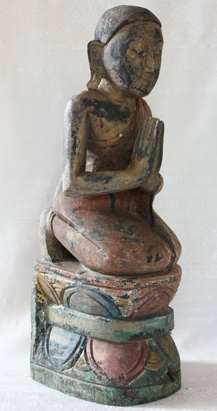 Antique Buddhist Monk Wood Carving Statue ABA61M