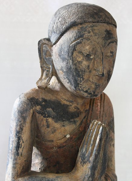 Antique Buddhist Monk Wood Carving Statue ABA61M4