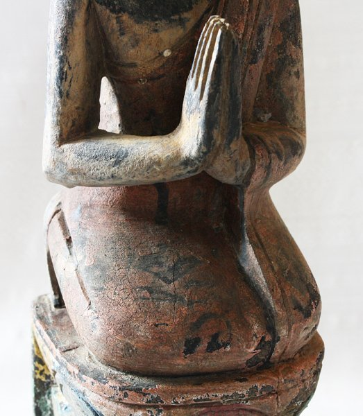 Antique Buddhist Monk Wood Carving Statue ABA61M7