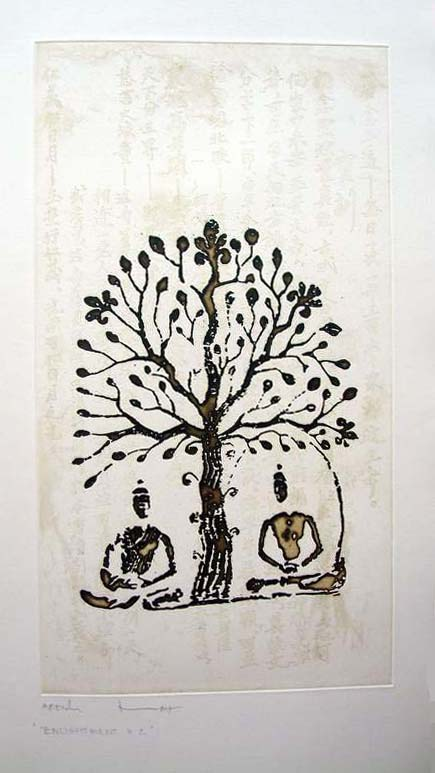 Etching entitled 'Enlightenment' by Thai artist, Vorakorn Metmanorom AEV05