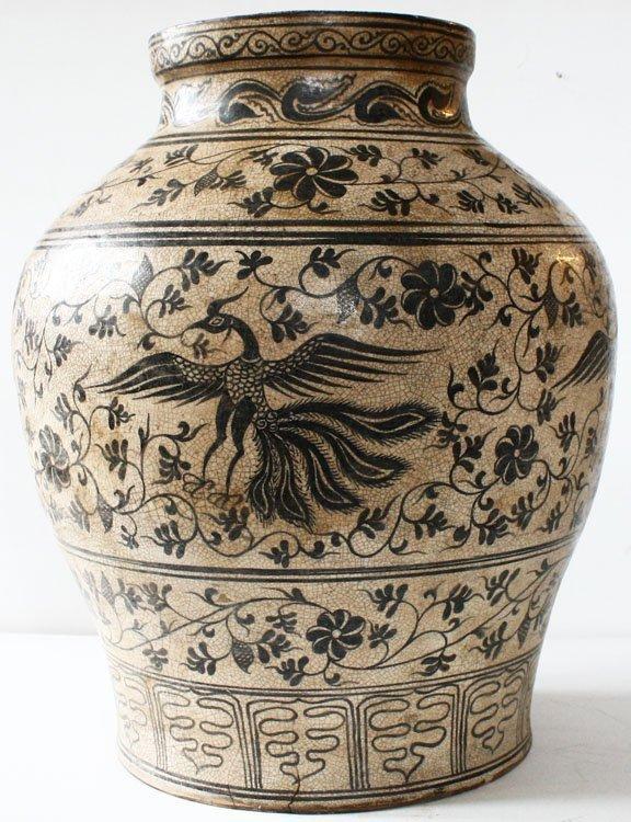 Antique Decorated Lanna Vase EUO46M