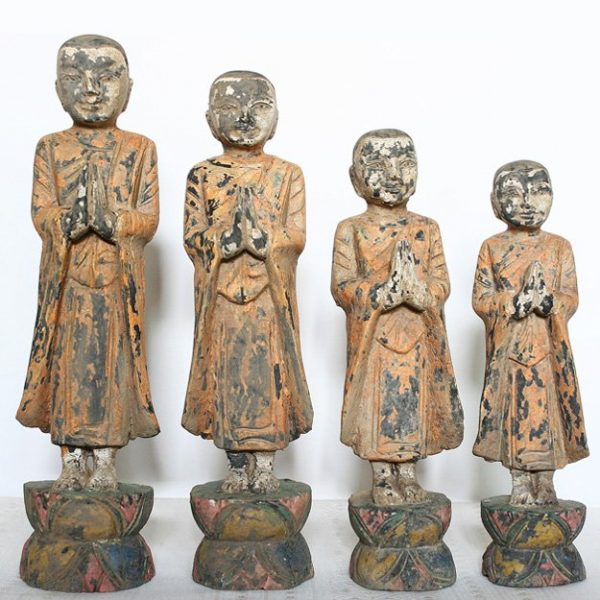 Set of antique Buddhist monk wood carving statues