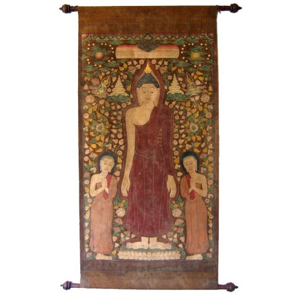 Antique Buddhist Temple Scroll Painting