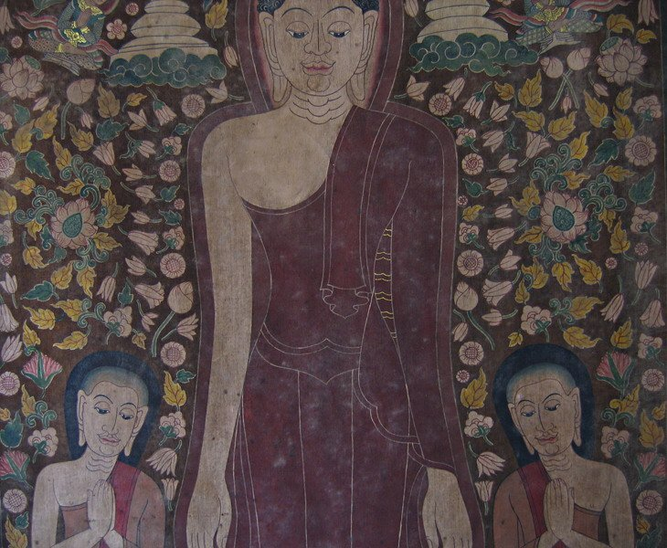 Antique Thai temple scroll painting of the Buddha ABA05M