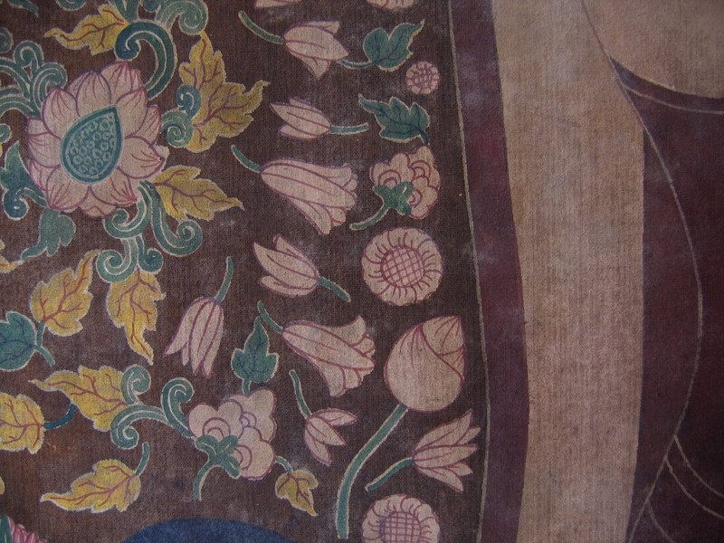 Antique Thai temple scroll painting of the Buddha ABA05M2