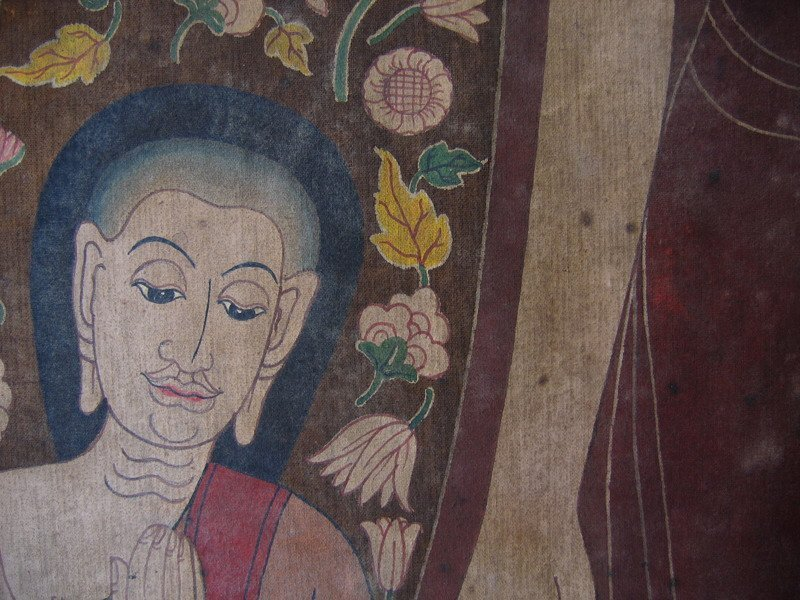 Antique Thai temple scroll painting of the Buddha ABA05M3