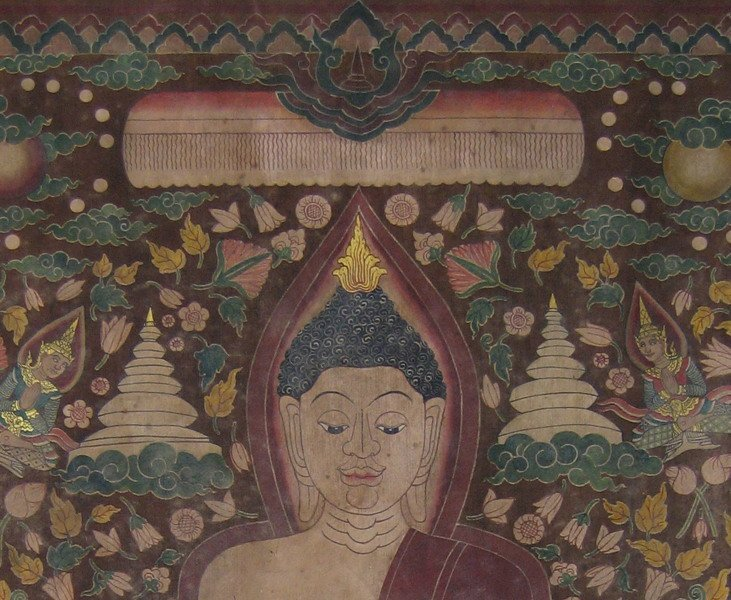 Antique Thai temple scroll painting of the Buddha ABA05M4