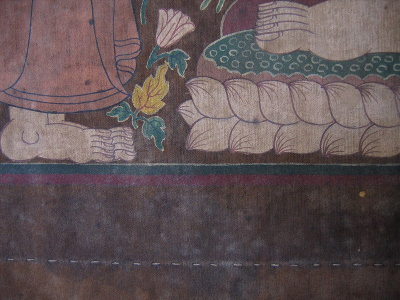 Antique Thai temple scroll painting of the Buddha ABA05M6