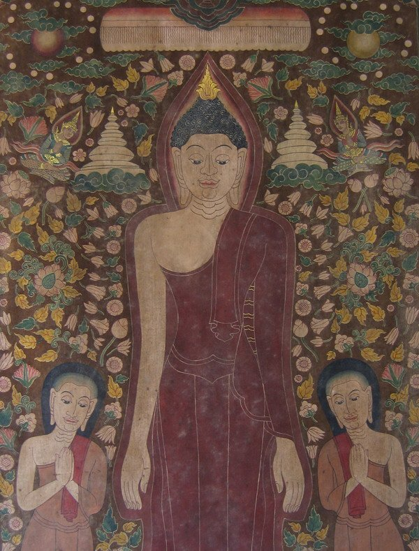 Antique Thai temple scroll painting of the Buddha ABA05M7