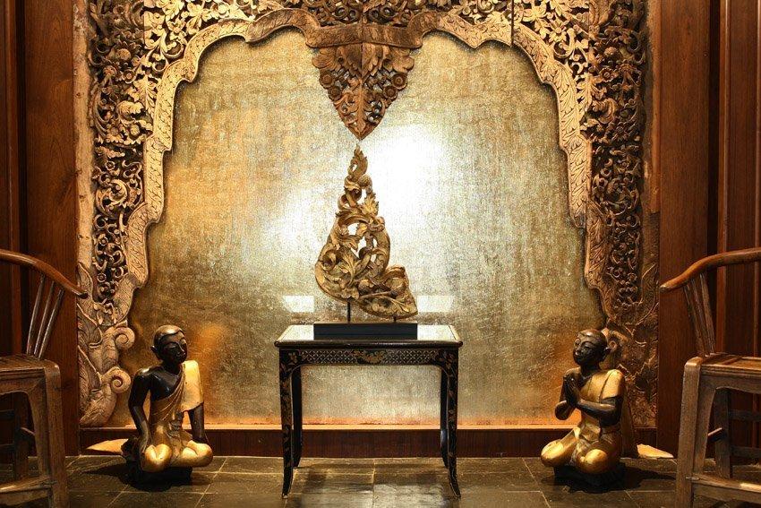 Rare antique Buddhist temple sculpture wood carving