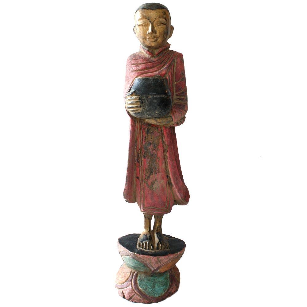 Antique Burmese Buddhist Monk Wood Carving