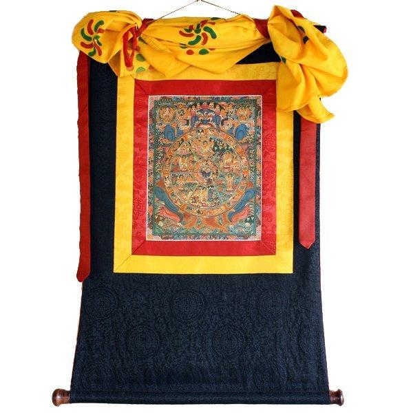 Vintage Tibetan Thangka Wheel of Life
