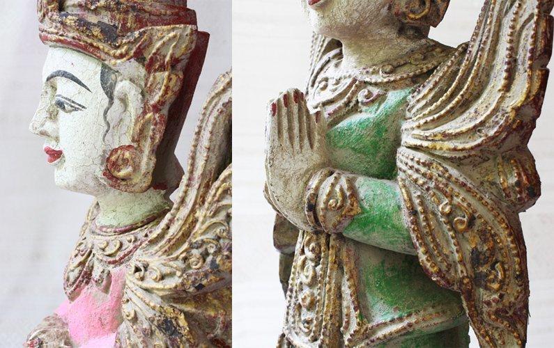 Antique Burmese Teppanom Angels Wood Carving ABA67M