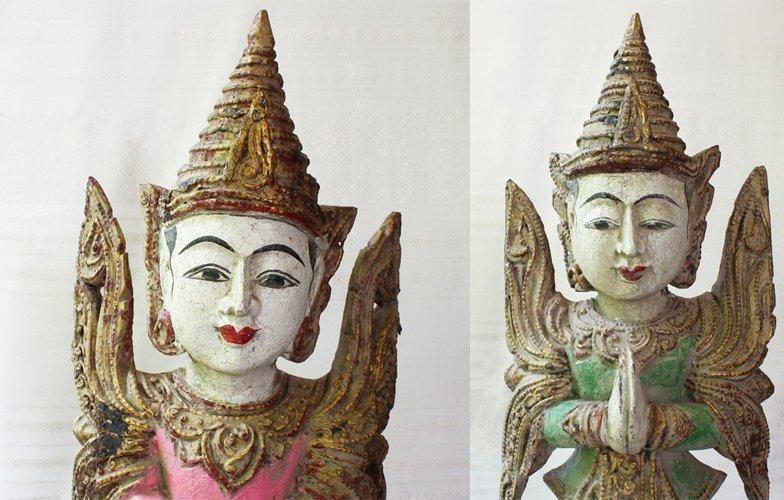Antique Burmese Teppanom Angels Wood Carving ABA67M2
