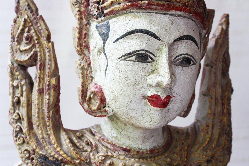 Antique Burmese Teppanom Angels Wood Carving ABA67M4