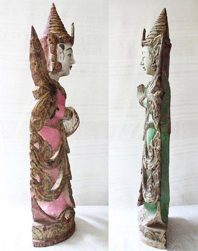 Antique Burmese Teppanom Angels Wood Carving ABA67M5