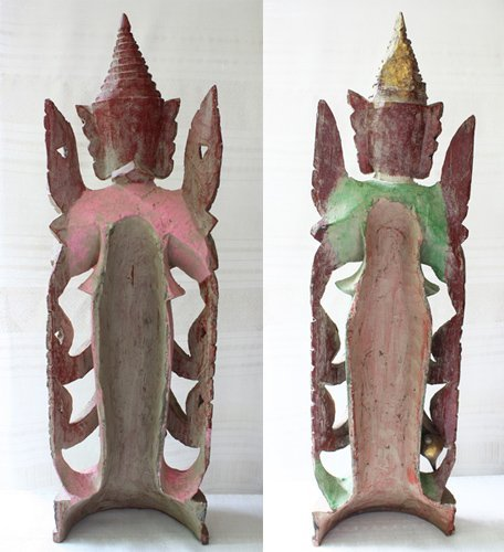 Antique Burmese Teppanom Angels Wood Carving ABA67M6