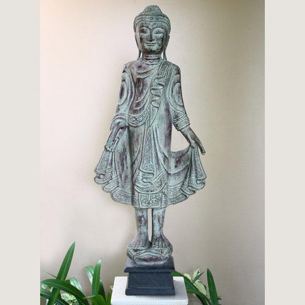 Standing Wooden Burmese Buddha Statue