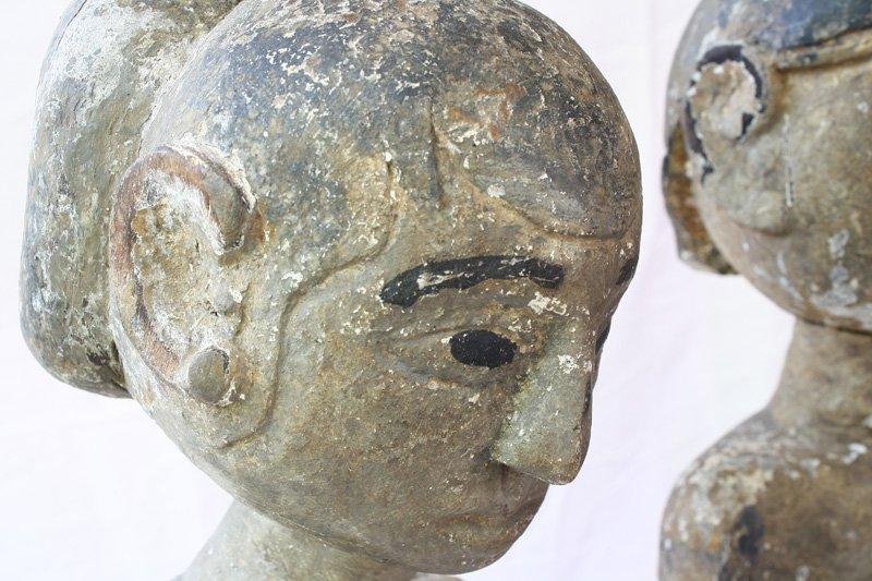 "Javanese ""Loro Blonyo"" Wood Carving Statues EUO119M3"