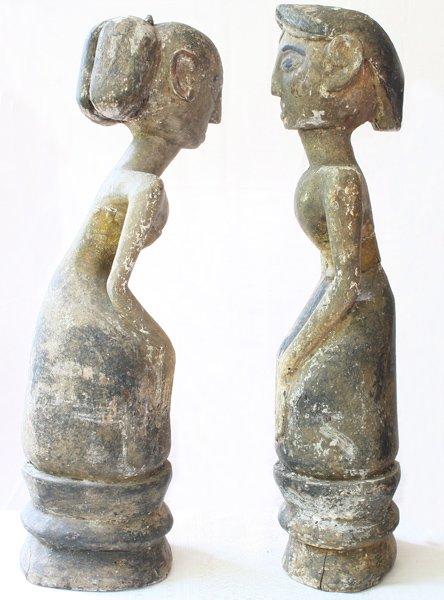 "Javanese ""Loro Blonyo"" Wood Carving Statues EUO119M4"