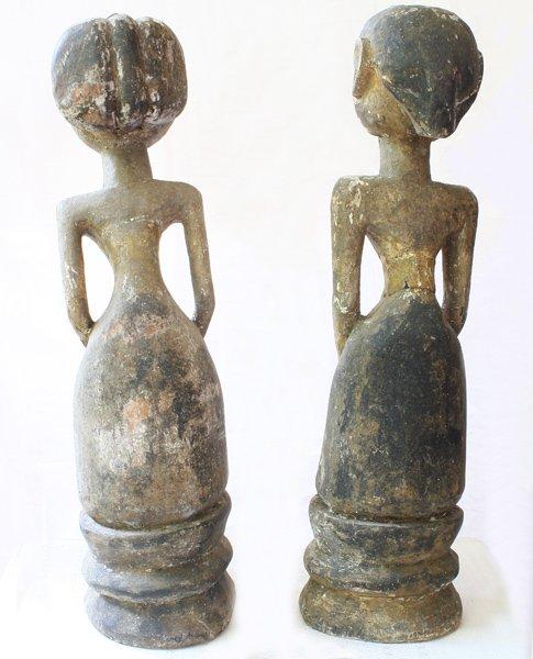 "Javanese ""Loro Blonyo"" Wood Carving Statues EUO119M5"
