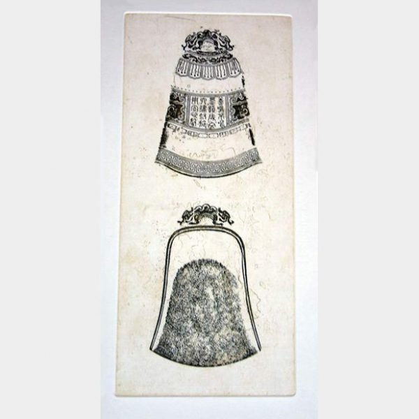 Original Etching by Thai Artist entitled Doubled Bells