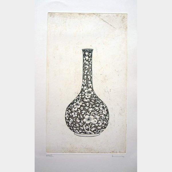 Original Etching by Thai Artist entitled Vase