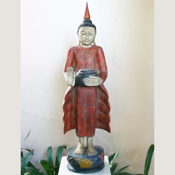 Burmese Standing Wooden Buddha Statue