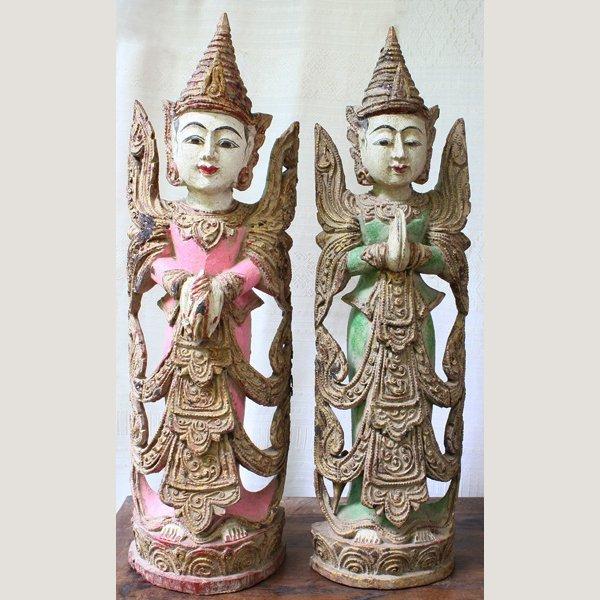Antique Burmese Teppanom Angels Wood Carving