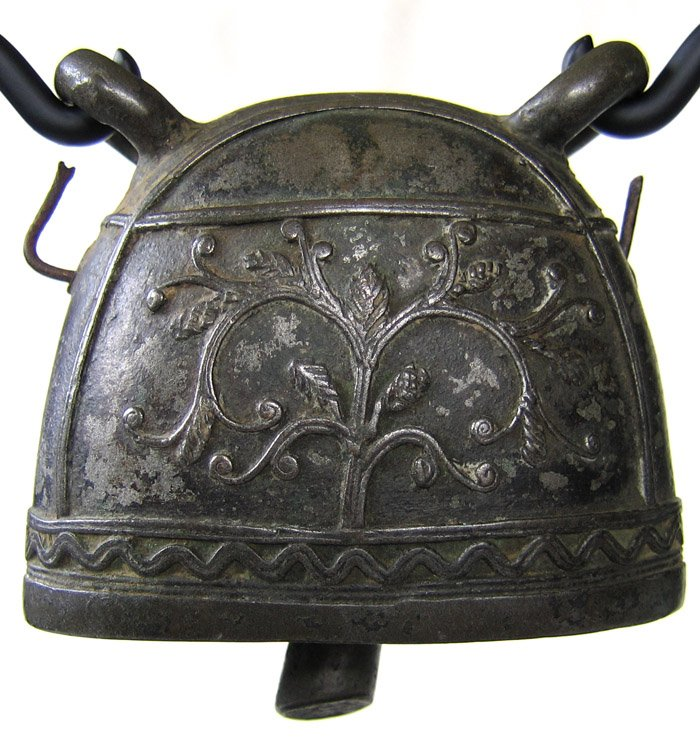 antique decorated bronze bell burmese