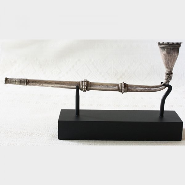 Antique silver tobacco pipe from the Hmong hill tribe people of Laos