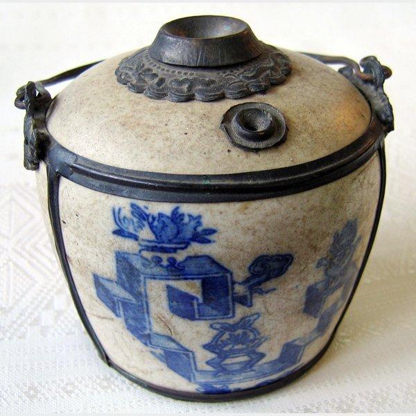 antique ceramic opim pipe Yunnan