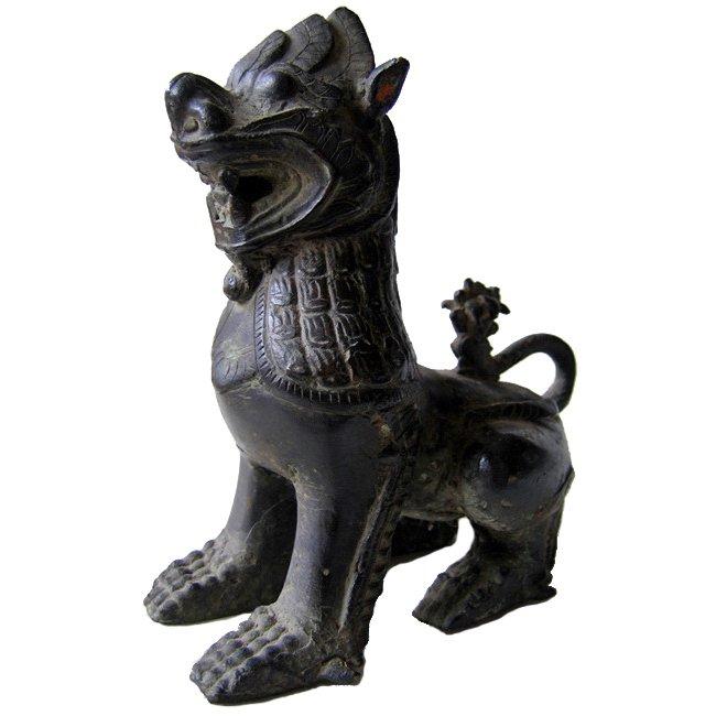 Antique Burmese bronze lion statue