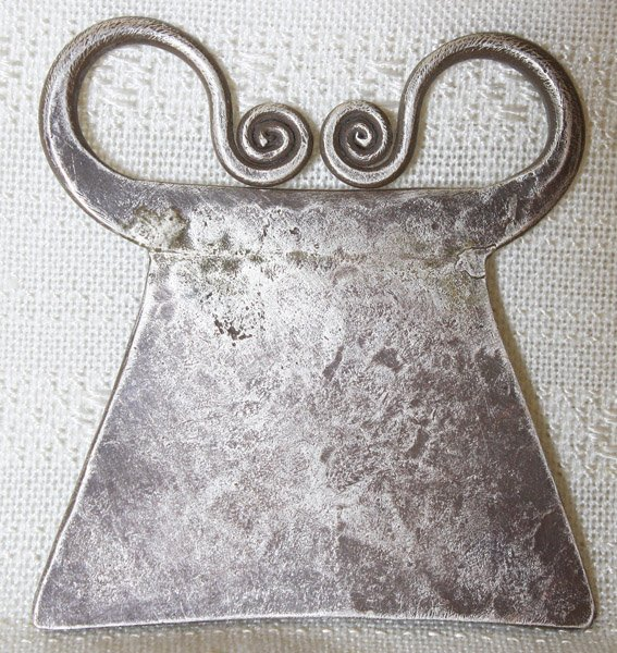 Antique Hmong soul lock silver tribal pendant ETJ162M