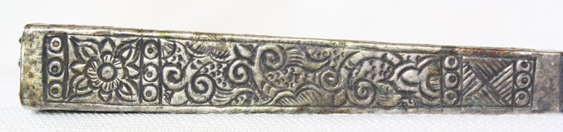 Antique hill tribe silver and teak hairpin from Vietnam ETJ173M5