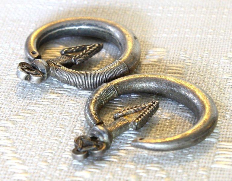 Antique Hmong silver arrow earrings from Laos ETJ176M