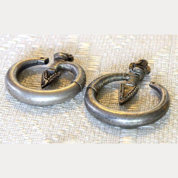 antique Hmong silver arrow earrings