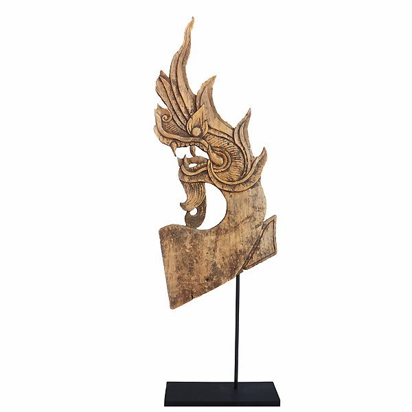 Antique Naga wood carving from Chiang Mai Thailand