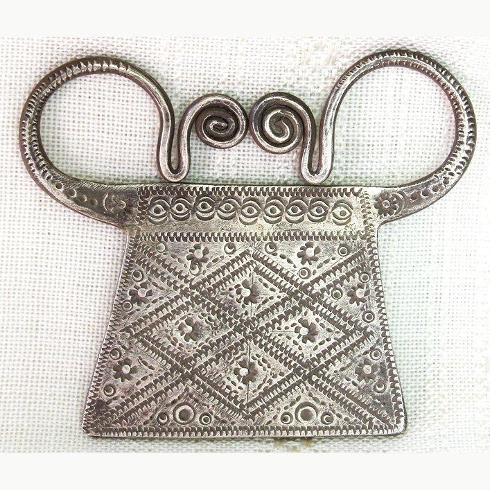 Antique Hmong silver soul lock pendant