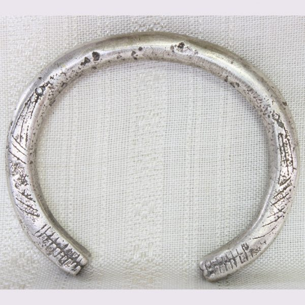 antique solid cast silver hill tribe bracelet