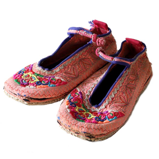 Vintage Hmong embroidered baby slippers