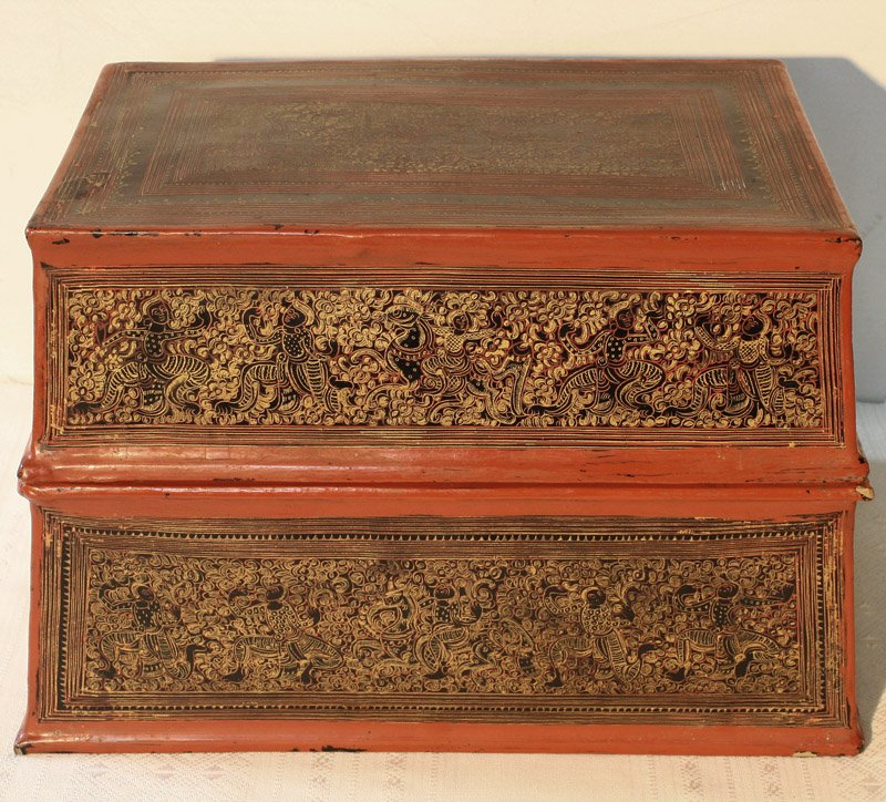 antique Burmese lacquerware BLW03M