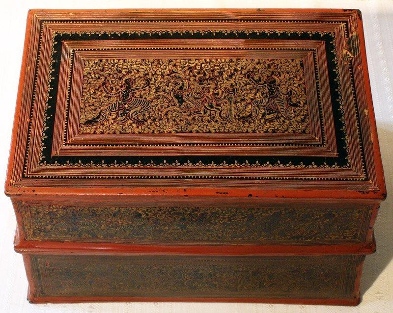 antique Burmese lacquerware BLW03M3