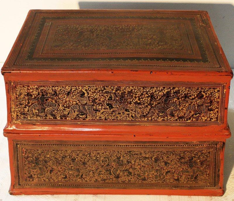 antique Burmese lacquerware BLW03M5