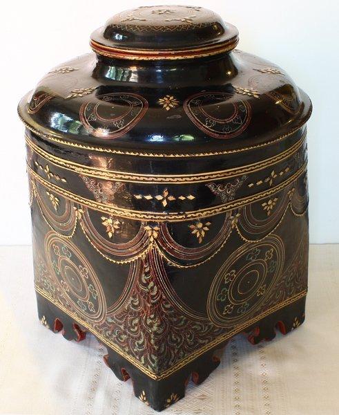 antique Burmese lacquerware BLW30M2